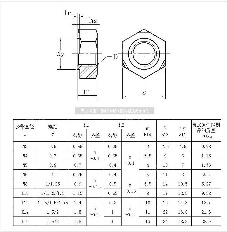 Square welding nut dimension and drawing