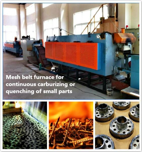 Electric Heating Continuous Mesh Belt Quenching and Tempering Heat Treatment Furnace working