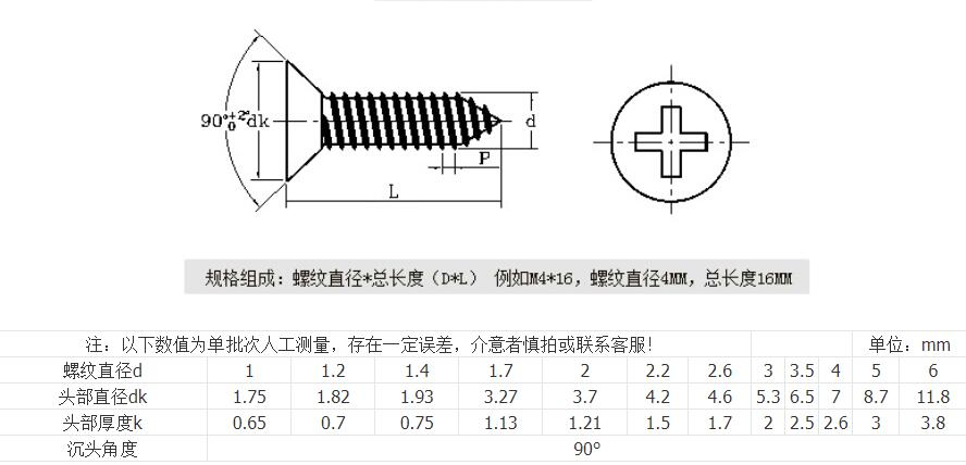 Wood self tapping screw size and drawing